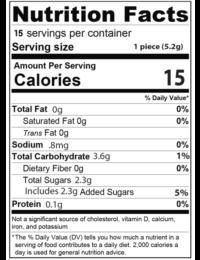 supplement facts info on gummies 300