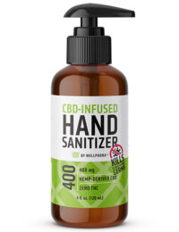 CBD-Infused Hand Sanitizer bottle with a pump